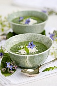 Borage soup with grated Parmesan in bowls