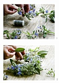 Making a borage wreath