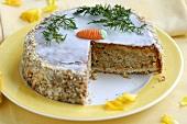 Carrot cake, a piece taken