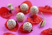 Chocolates on poppy petals