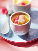 Baked custard with rose petal and lychee