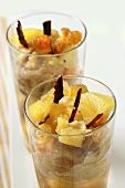 Apple and pear compote with grapes