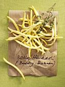 Yellow wax beans and summer savory
