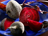 Beetroot in blue dish