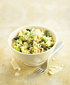 Asparagus risotto in a small bowl