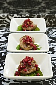 Fried beef fillet with ginger and pomegranate seeds