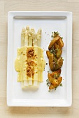 White asparagus with toasted cheese topping & fried potatoes