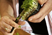 Cutting cress with scissors