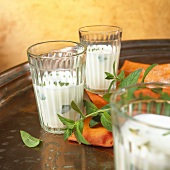 Ayran (yoghurt drink, Turkey) with mint