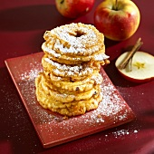 Apple fritters with icing sugar