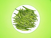 Frozen green beans on a plate