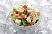 Frozen soup vegetables (carrots, leeks, celeriac) in bowl