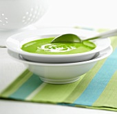 A plate of pea soup with spoon