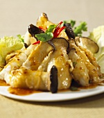 Oyster mushroom tempura with spicy sauce