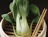 Pak choi in steaming basket with chopsticks