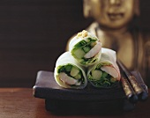 Giant freshwater prawns & Thai asparagus in rice paper rolls