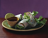 Rice paper rolls filled with giant freshwater prawns