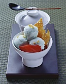 Green tea ice cream with plums