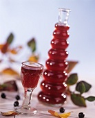 Chokeberry liqueur in bottle and glass