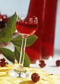 A glass of cherry liqueur