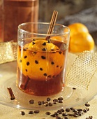 Orange coffee liqueur with orange studded with coffee beans