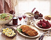 Burgundian meal with salmon steak in mustard crust