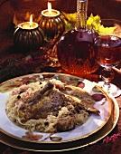 Stuffed pheasant with sauerkraut