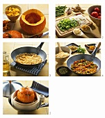 Preparing pumpkin with rice and vegetable stuffing