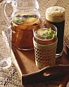 Iced tea with lemon peel and spices