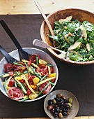 Beans, tomatoes & crispy bacon, rocket salad with walnuts