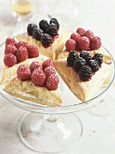 Puff pastry turnovers with raspberries and blackberries