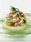 Lobster salad on slice of cucumber