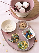 Chocolate fondue with marshmallows and decorations