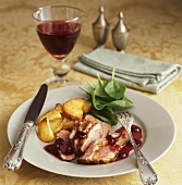 Roast duck breast with redcurrant sauce