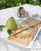 Pear slice and chocolate and ginger ice cream