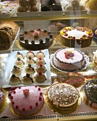 Cakes and gateaux in a cake shop