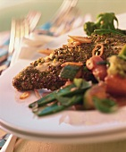 Chicken breast with pistachio crust & marinated vegetables