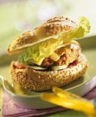 Burger in sesame roll