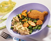 Breaded fish with peas, carrots and millet