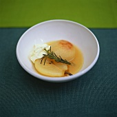 Poached pears with rosemary