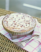 Cherry tart in tart tin