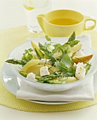 Pear and asparagus salad with herbs and feta
