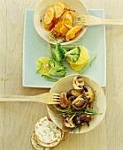 Fried mushrooms, orange and broccoli salad, carrots