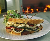 Vegetable and mozzarella sandwich in grilled bread