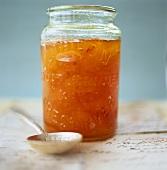 Apricot jam in jar