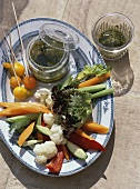 Crudités (Vegetables with hot anchovy sauce, France)