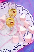 Two glasses of Sekt & marshmallow hearts for Valentine's Day