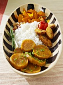 Three exotic vegetables with rice