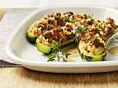 Courgette boats with mince and rice stuffing