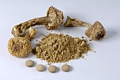 Dried almond mushrooms, powder and tablets